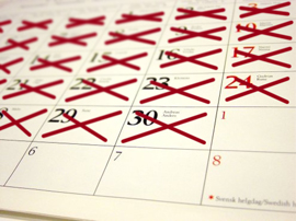 New Year's resolutions calendar